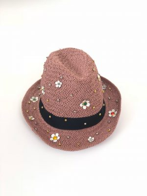 Straw hat with flowers pink