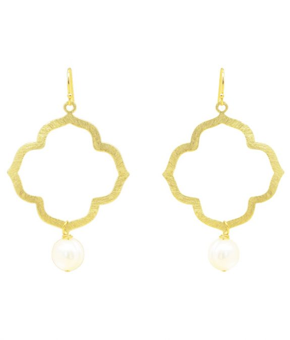 Earrings gold-plated with pearls