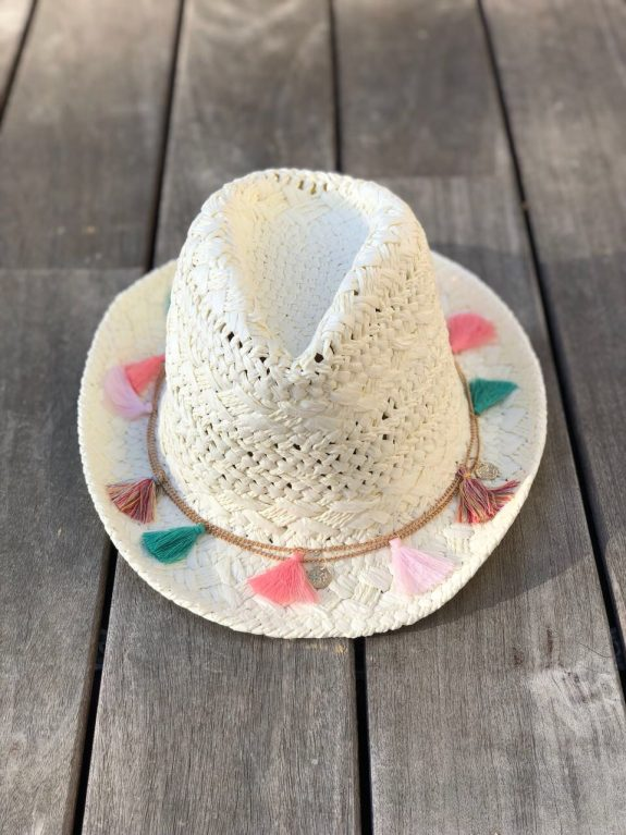 Straw hat Ibiza white