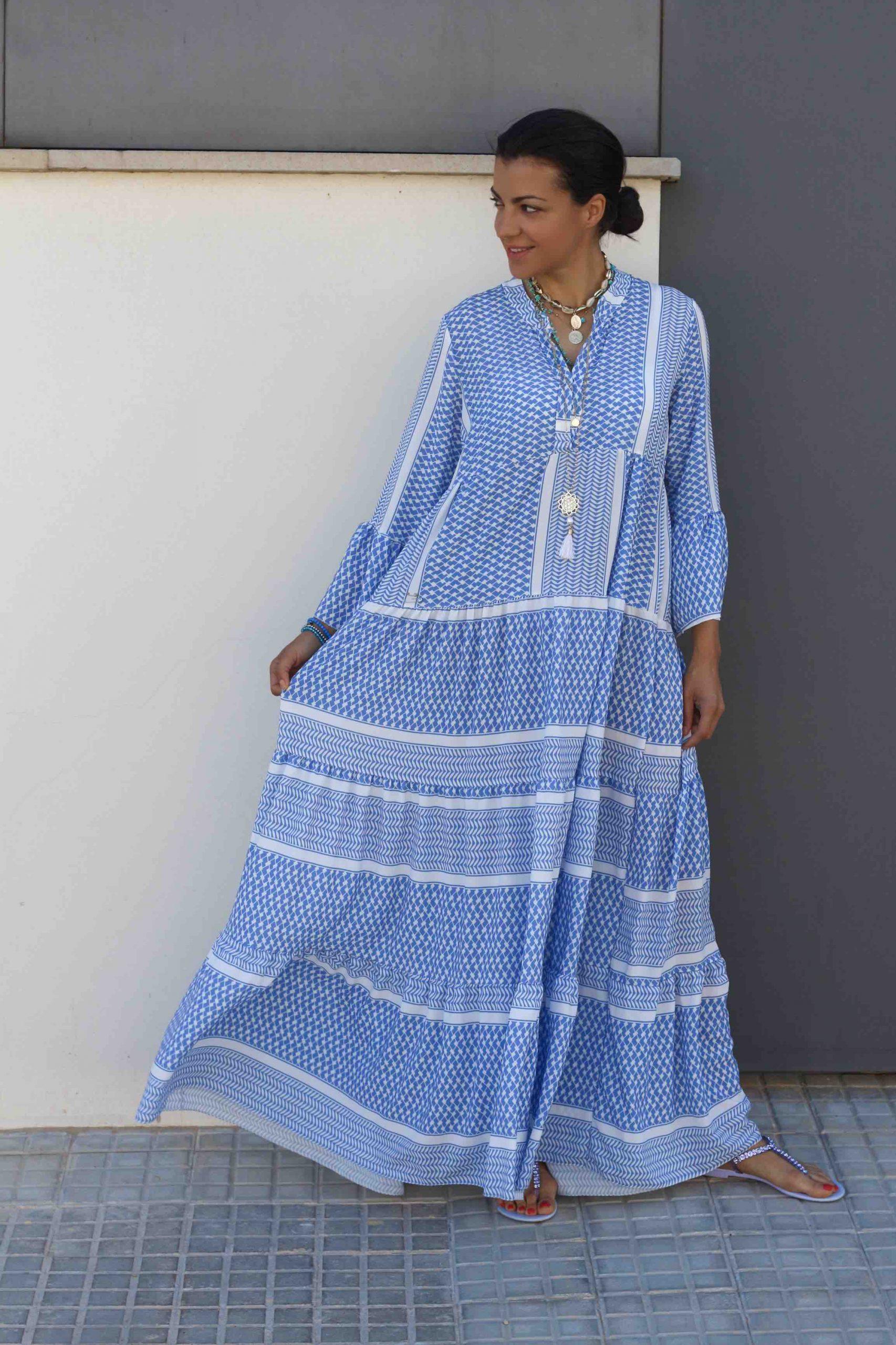 Amelie dress blue white Maxi Pali dress